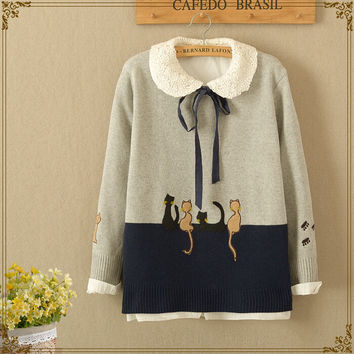 Japanese sweet cat embroidery knitting sweater