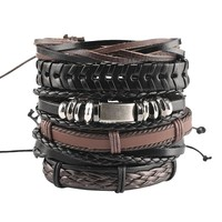 6 pieces in 1 set Vintage Punk Bracelets &Bangles Multilayer Leather Skull Head Ghost Weaving Bracelet Chain Men Women Jewelry