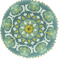 Boho Green Round Embroidered Pillow
