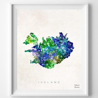 Iceland Map, Watercolor, Reykjavik, Nordic, Europe, Home Town, Poster, Gift, Icelandic, Nursery, Painting, Bedroom, world map [NO 460]