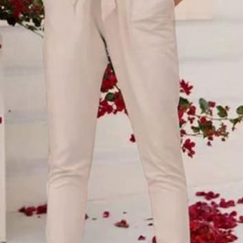 On Neutral Ground Beige High Waist Tie Belt Side Pockets Slim Pants