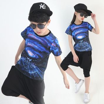 KTLPARTY children kid girl boy hiphop hip hop costume in the space jazz costume clothes Harem Pants T shirt
