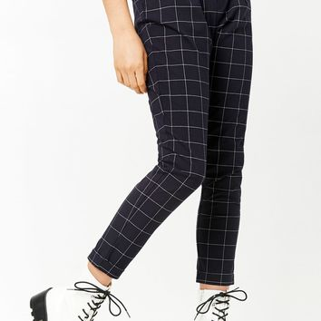 High-Rise Grid Pants