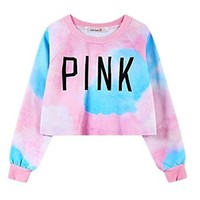 Amoin Women's Colorful Tie Dye and Pink Letters Print Midriff Crop Sweatshirt
