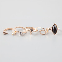 Full Tilt 5 Piece Geo/Gem/Stone Rings Gold