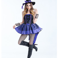 Sexy Adult Witch Costume Halloween Witch Dress For Women Halloween Christmas Costume Long Purple Swallowtail Dress