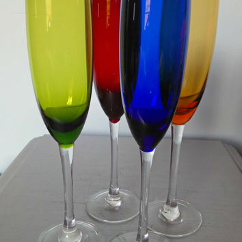 Vintage Champagne Flutes Multi Colored Clear Stem Green, Blue, Red, and Amber/Vintage Champagne Glasses Red, Green, Blue, & Amber Clear Stem