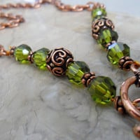 Long Earthy Swarovski Crystal Necklace w/ Green Pendant by ciaralg