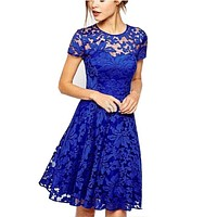 Plus Size Fashion Women Elegant Sweet Hallow Out Lace Dress