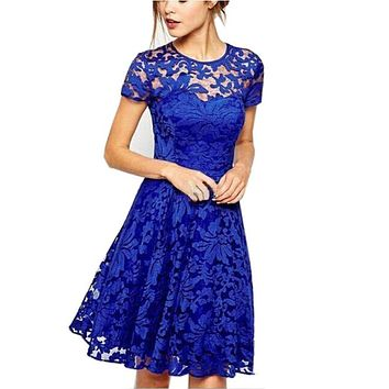Sweet Hallow Out Lace Dress