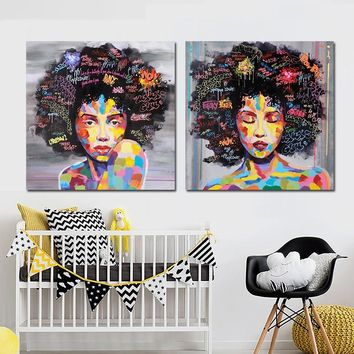 Nude American Women African Portrait Canvas Painting Posters and Prints Scandinavian Wall Art Wall Picture for Living Room Decor