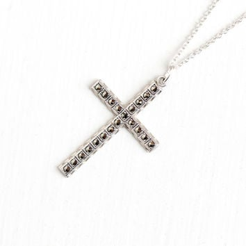 Vintage Sterling Silver Large Marcasite Cross Necklace - Vintage Mid Century Christian Crucifix Catholic Religious Pendant USA Jewelry