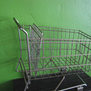 Large Mini Metal Shopping Cart; Vintage Supermarket Style with Wheels & Ft Basket/Working; For Play/Decor/Fruit or Ornament Display