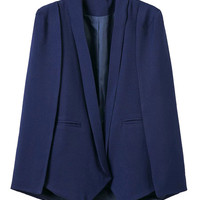 Navy Lapel Cape Blazer