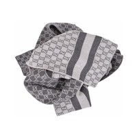 Gucci Men's GG Lunicart Scarf Wool Web Stripe Grey 438253