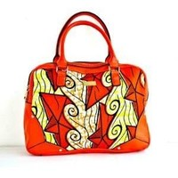 Orange African Ankara Wax Print Fabric Tote Bag With Leather Straps