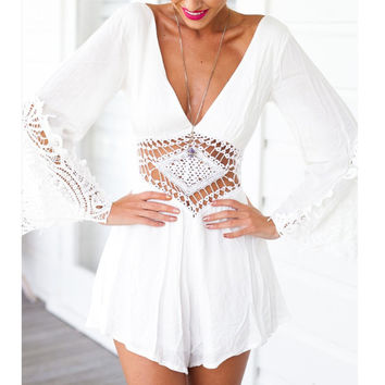 Ladies Sexy Deep V-neck Lace Casual Jupmsuit