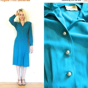 CYBER MONDAY SALE 40s vintage dress / Button down nylon dress / Blue long sleeve / Day dress / 1940s / Wwii / Shoulder pads size Medium