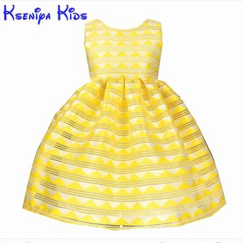 Kseniya Kids 2017 Summer Yellow Girl Dress Striped Princess Dresses For Girls Cotton Birthday Party Wedding Children's Dresses