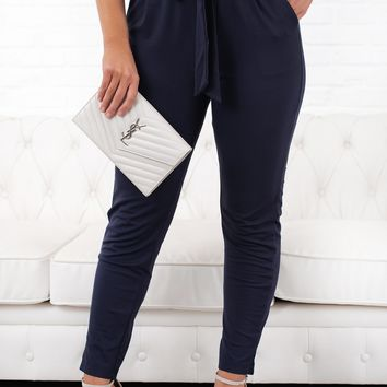 All That Magic Tie Front Pants (Navy)