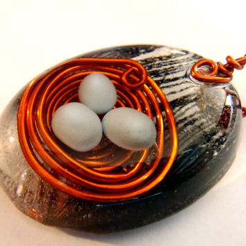 Wire Bird Nest Peacock Feather Nature Pendant Boho Necklace Bohemian Jewelry Whimsical Resin Large Oval Cruelty Free Blue Clay Eggs Amber