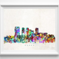 Osaka Skyline Print, Japan Print, Osaka Poster, Japan Cityscape, Ni Hon Art, Watercolor Art, Wall Decor, City Skyline, Christmas Gift