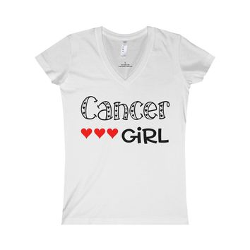 Cancer Girl, Zodiac Women's Fine Jersey V-neck Tee