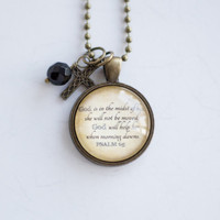 Scripture Necklace - Psalm 65 - Christian Jewelry -  Scripture Pendant Bible Verse - God is in the midst of her - Inspirational Custom Gift