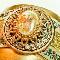 Tea Time Adjustable Cuff Bracelet-Handmade from Vintage brass cameo one of a kind