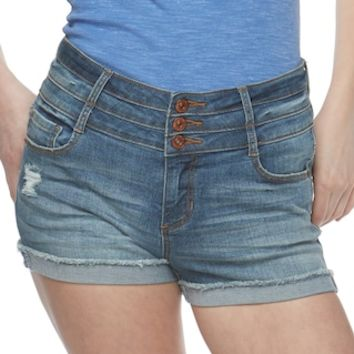 Juniors' Vanilla Star Triplestack High-Waisted Denim Shortie Shorts | null