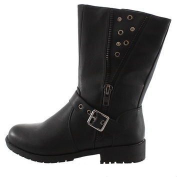 CAMILO01 BLACK STUDDED ZIPPER COMBAT BOOT