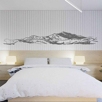 mountain Wall Decals Snowy Mountain Range Wall Art Nature wall art Mountain wall art Large Wall Decal Wall Stickers for Bedrooms kik3427