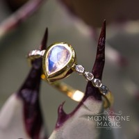 Solid 14kt Yellow Gold Moonstone Ring with Diamonds - Aphrodite