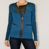 Beatrix Ost teal zip cardigan