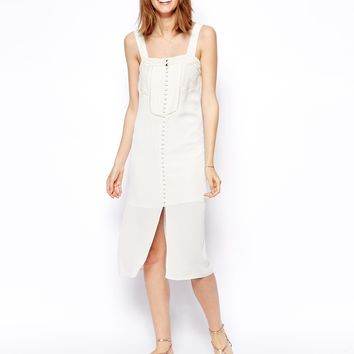 ASOS Premium Strappy Dress with Lace Detail - White