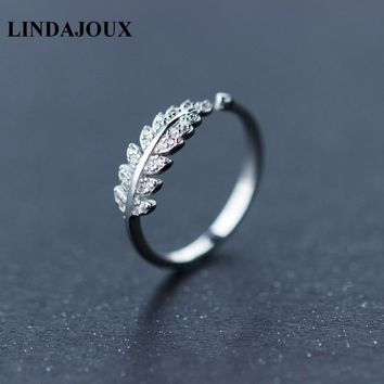 LINDAJOUX Fashion 3 Colors Cubic Zirconia Leaf Shaped 925 Sterling Silver Open Ring For Women Wedding Engagement Rings