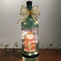 Country Snowman Wine Bottle Lamp, Christmas Decorations, Holiday Lighting, Accent Lamp, Wine Decor