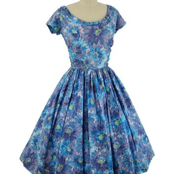 1950s Jerry Gilden Floral Print Full Midi Dress-M
