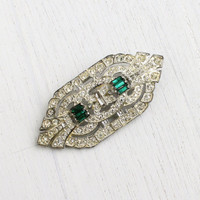 Antique Art Deco Emerald Green Rhinestone Brooch - Vintage Silver Tone 1920s 1930s Large Jewelry Pin / Clear Round Rhinestones
