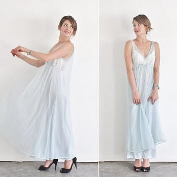 1960 powder blue nightgown . Vanity Fair cape back slip dress .medium