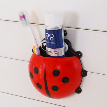 Ladybug Suction Cup Toothbrush Holder Storage Organizer