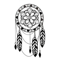 BININBOX Unisex Fashion Black Waterproof Temporary Tattoos Tattoos Sticker (dreamcatcher)