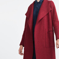 Red None Button Long-Sleeve Lapel Coat With Pocket