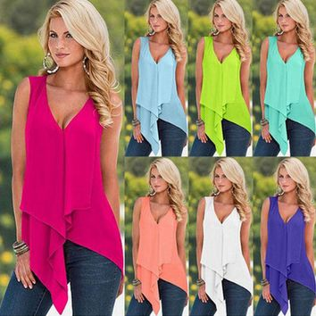 VONESC6 Summer Blusas 2016 Sexy Women Blouses Sleeveless V-Neck Chiffon Shirts Casual Irregular Hem Solid Long Tops