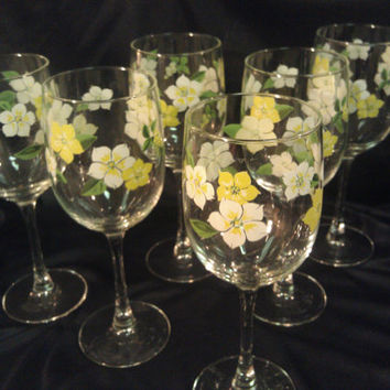 Vintage Hand painted Flower Wine Glasses Set of 6
