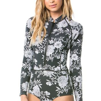 Amuse Society 'Makala' Floral Print Long Sleeve One-Piece Swimsuit | Nordstrom
