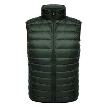 Ultra light sleeveless mens jacket athletic vest puffer style