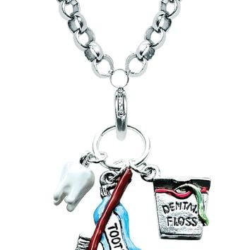 Dental Assistant Charm Necklace in Silver