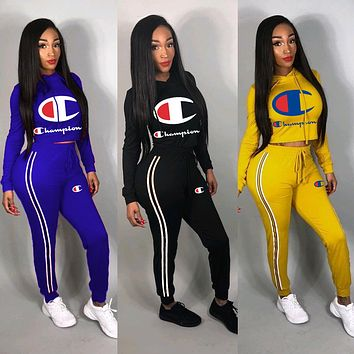 Fashion Womens Stylish CHAMPION Sportswears Two Pieces Summer Ladies