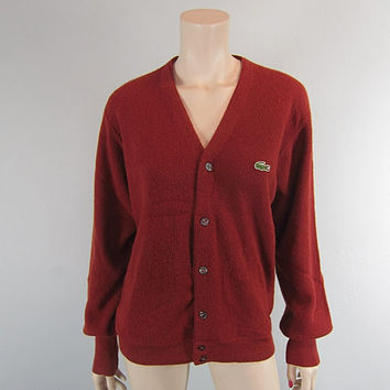 Vintage 1960s Izod Lacoste Rust Terracota Cardigan Sweater Golf Tennis Preppy Alligator mens M womens unisex emo hipster